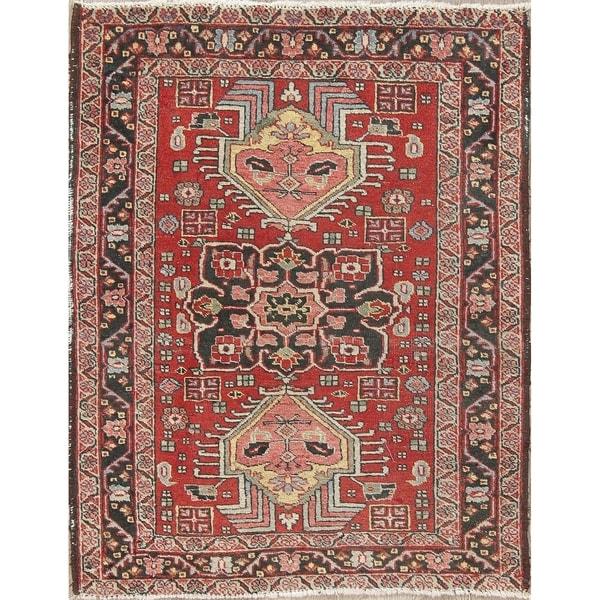 "Antique Heriz Geometric Handmade Wool Persian Oriental Area Rug - 3'7"" x 2'11"""