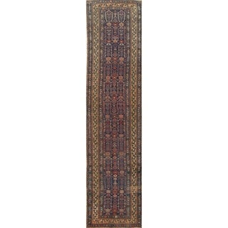 "Bidjar All-Over Geometric Handmade Wool Persian Oriental Rug - 15'7"" x 3'9"" Runner"