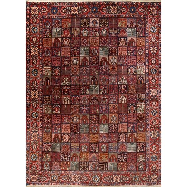 "Antique Bakhtiari Geometric Garden Design Handmade Wool Persian Rug - 16'9"" x 12'2"""