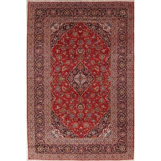 "Kashan Floral Medallion Traditional Handmade Wool Persian Area Rug - 13'6"" x 9'0"""
