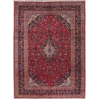 "Kashan Floral Medallion Traditional Handmade Wool Persian Area Rug - 13'2"" x 9'6"""