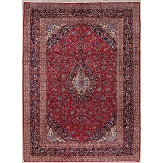 "Kashan Floral Medallion Traditional Handmade Wool Persian Area Rug - 13'2"" x 9'6"""