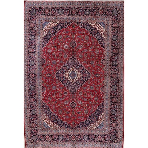 "Kashan Floral Medallion Traditional Handmade Wool Persian Area Rug - 13'2"" x 9'9"""