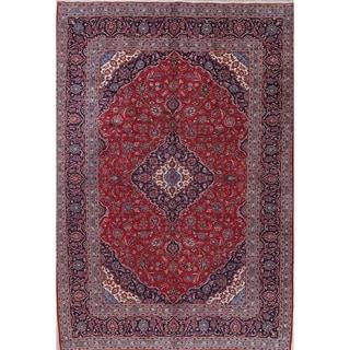 "Kashan Floral Medallion Traditional Handmade Wool Persian Area Rug - 13'2"" x 9'9"""