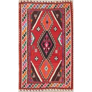 "Kilim Shiraz Geometric Hand-Woven Wool Persian Oriental Area Rug - 8'0"" x 4'11"""