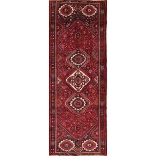 "Shiraz Tribal Geometric Handmade Wool Persian Oriental Rug - 10'9"" x 3'9"" Runner"