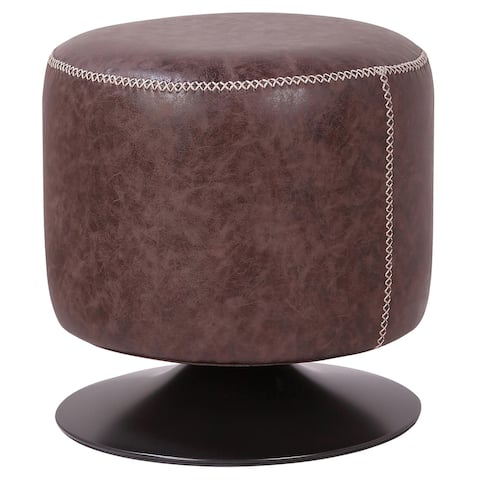 Gaia PU Leather Round Ottoman