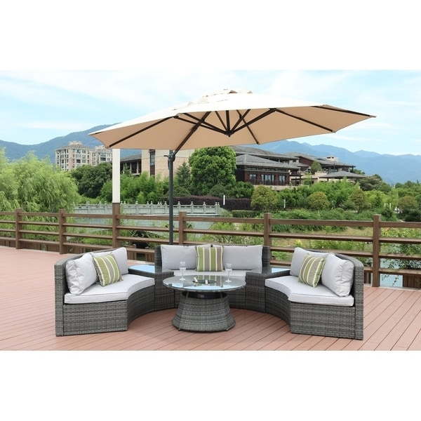 Direct Wicker Outdoor Wicker Sectional Sofa Set with Table and Cushions