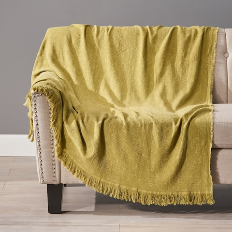 Brindle Cotton Throw Blanket with Fringes by Christopher Knight Home
