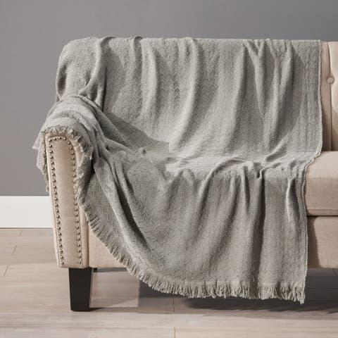 Edwards Cotton Throw Blanket with Fringes by Christopher Knight Home