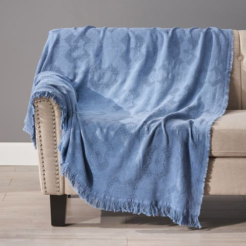 Cranford Cotton Throw Blanket with Fringes by Christopher Knight Home