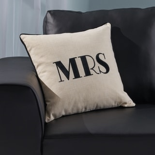 """Alvarado Modern Fabric """"MRS"""" Throw Pillow Cover (No Filling) by Christopher Knight Home"""