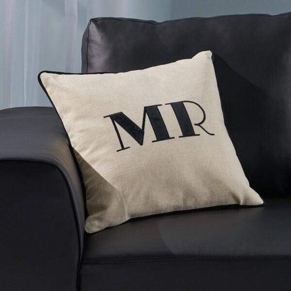 "Alvarado Modern Fabric ""MR"" Throw Pillow Cover (No Filling) by Christopher Knight Home"