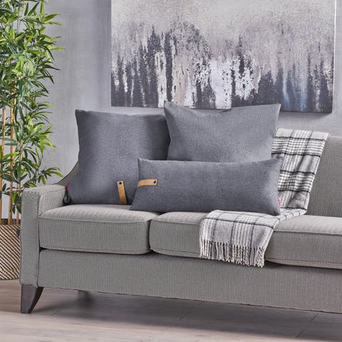 Edinburgh Contemporary Square and Rectangular Fabric Pillow Set with Faux Leather Strap by Christopher Knight Home