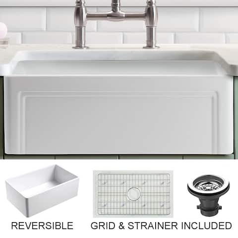 """Olde London Fireclay 27"""" L x 18"""" W Reversible Farmhouse Kitchen Sink with Grid & Strainer in White"""
