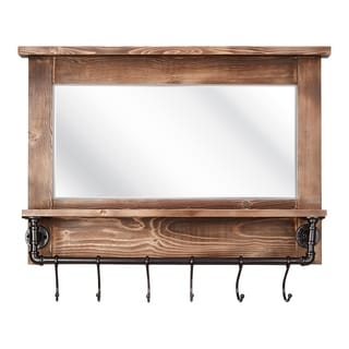 Imax Afia Brown Wood Frame Wall Mirror with Shelf and Hooks