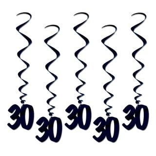 """Beistle 3' Over The Hill """"30"""" Hanging Whirls Party Decoration, Black - 6 Pack (5/Pkg)"""