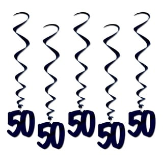"""Beistle 3' Over The Hill """"50"""" Hanging Whirls Party Decoration, Black - 6 Pack (5/Pkg)"""