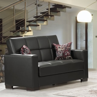Armada Leatherette Upholstery Love Seat with Storage - 64 W x 38 H x 37 D