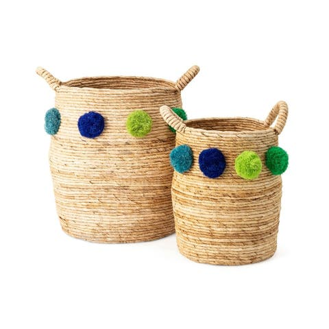 Pom Pom Baskets - Set of 2