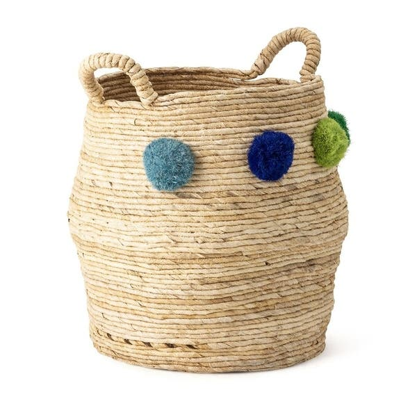 Double-handled basket WITH POMPONS AUTOUR to customize