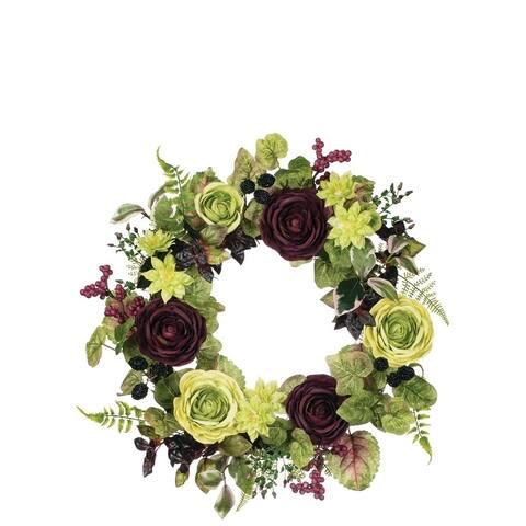Ranunculus, Dahlia, & Berry Wreath