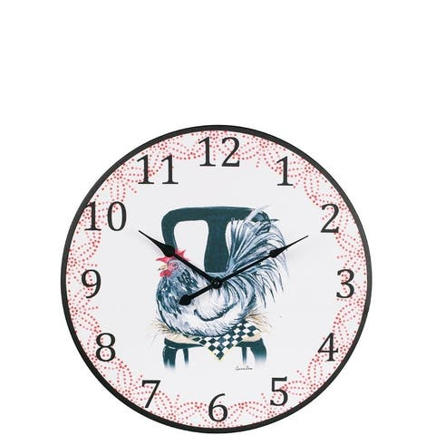Cynthia Dunn Illustrated Le Poulet Wall Clock
