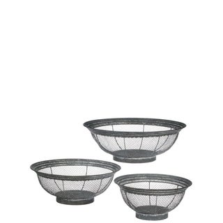 """Patina Wire Baskets - Set of 3 - 16, 13.25, 10.5""""Lx16, 13.25, 10.5""""Wx5.5, 5, 4.75""""H"""