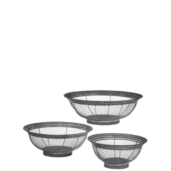 "Patina Wire Baskets - Set of 3 - 16, 13.25, 10.5""Lx16, 13.25, 10.5""Wx5.5, 5, 4.75""H"