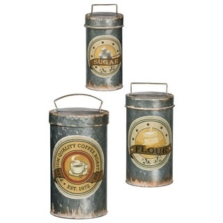 """Rustic Lidded Flour, Sugar, & Coffee Small Decorative Canisters - Set of 3 - 6, 5, 4""""L x 6,5,4""""W x 12,10,8.5""""H"""