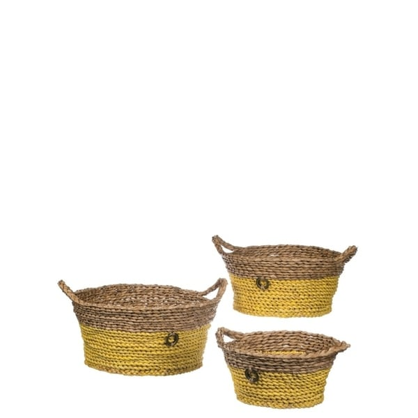 "Yellow & Natural Round Woven Baskets with Handles - Set of 3 - 17, 15.5, 13.5""L x 14.5, 13, 11""W x 9, 13.5, 6""H"