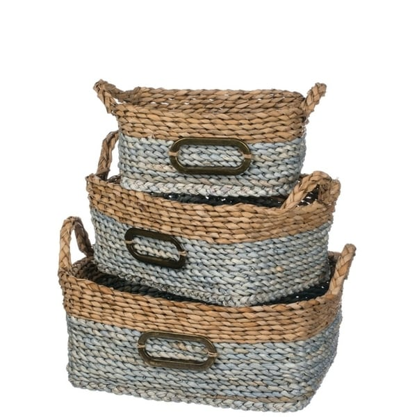 "Gray & Natural Rectangular Woven Baskets with Handles - Set of 3 - 16.5, 15, 12.5""L x 10.5, 9.5, 7""W x 8.5, 7, 5.5""H"
