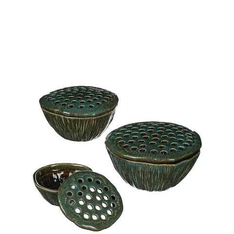 Green Lotus Floral Bowls with Lids - Set of 3