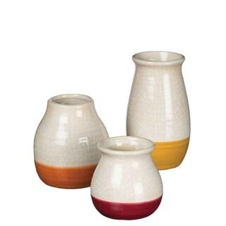Ceramic Red, Yellow, & Orange Mini Vases - Set of 3