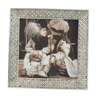 Saro Lifestyle Silvertone Diamond Pattern Jeweled Photo Frame