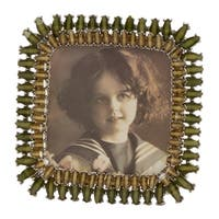 Saro Lifestyle Green Zinc/Pewter Double Border Jeweled Picture Frame