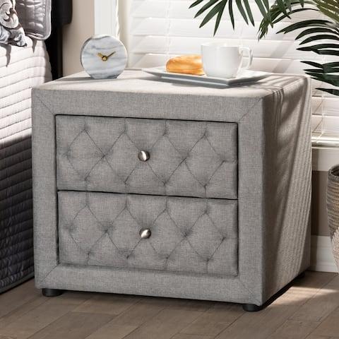 Contemporary Fabric 2-Drawer Nightstand