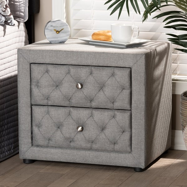 Contemporary Fabric 2-Drawer Nightstand. Opens flyout.