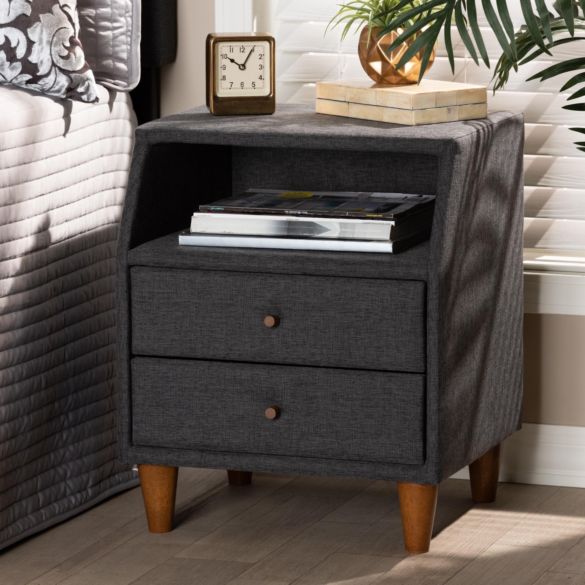 Contemporary Fabric 2 Drawer Nightstand Overstock 27734906