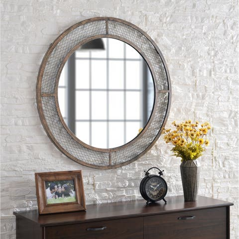 "Molly Weathered Brown 34-inch Diameter Round Wall Mirror - 34"" Dia."