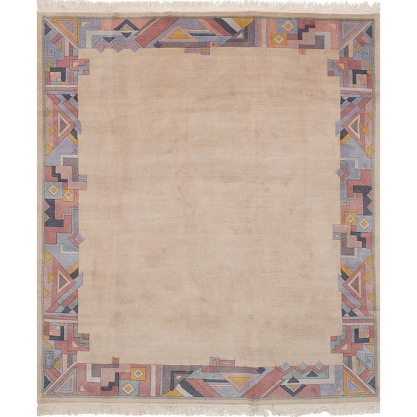 Ecarpetgallery Hand Knotted Aurora Ivory Wool Rug 6 8 X 7 11 Overstock 27735088