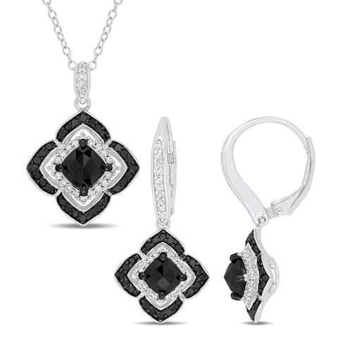 Miadora Sterling Silver with Black Rhodium 2 4/5ct TDW Black and White Diamond Floral Jewelry Set