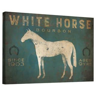 Porch & Den White Horse No Kentucky' Gallery Wrapped Canvas