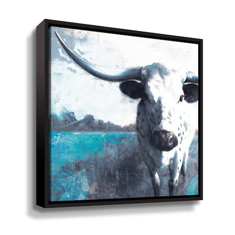 ArtWall Cow Close Up Gallery Wrapped Floater-framed Canvas