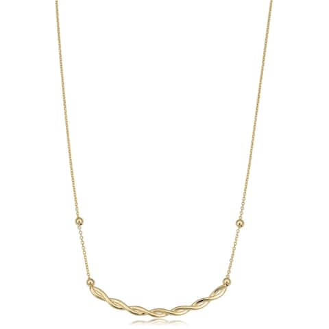 10k Yellow Gold Adjustable Length Twist Curved Bar Necklace (adjusts to 17 or 18 inches)