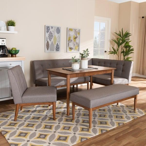 Shop Mid Century Gray Fabric 5 Piece Dining Nook Set On