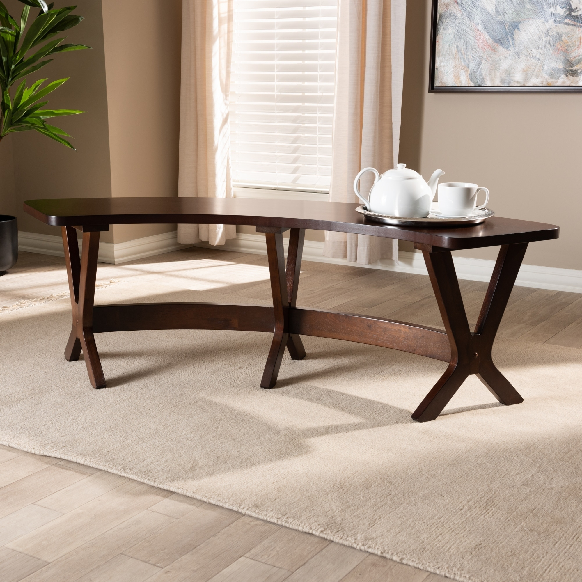 Picture of: Mid Century Walnut Wood Curved Dining Bench On Sale Overstock 27735402