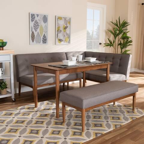 Mid-Century Gray Fabric 4-Piece Dining Nook Set