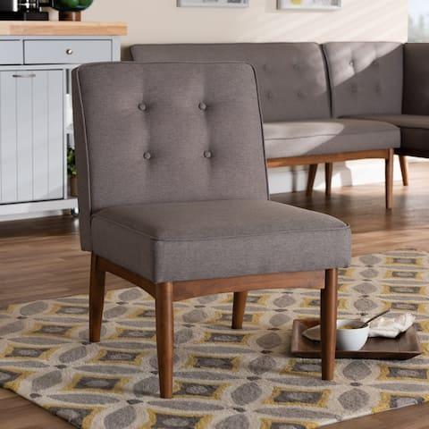 Mid-Century Gray Fabric Dining Chair