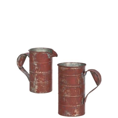 "Rustic Red Measuring Can Flower Pots - Set of 2 - 6.5""L x 4.25""W x 7.25""H, 6.5""L x 3.5""W x 6""H"